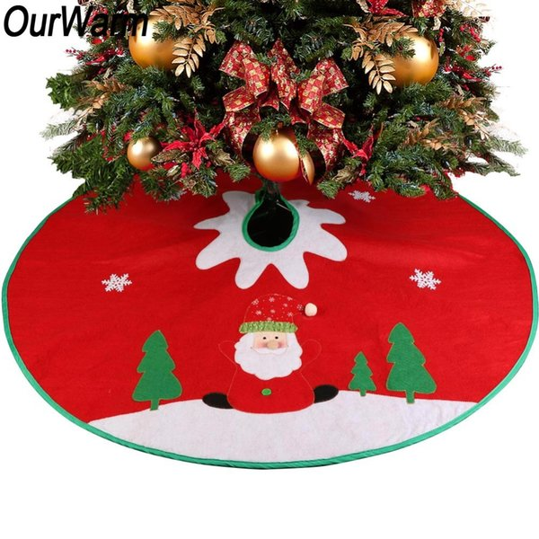 wholesale 90cm Stitched Santa Christmas Red Small Tree Skirt Crochet pattern Carpet Christmas Decorations Party Ornaments
