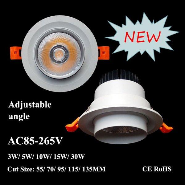 LED COB Downlight Round 10W AC85V-265V encastré au plafond Spotlight 4 '' 6 '' Inch Cut 70 / 90mm d'économie d'énergie lampe d'appareils d'éclairage