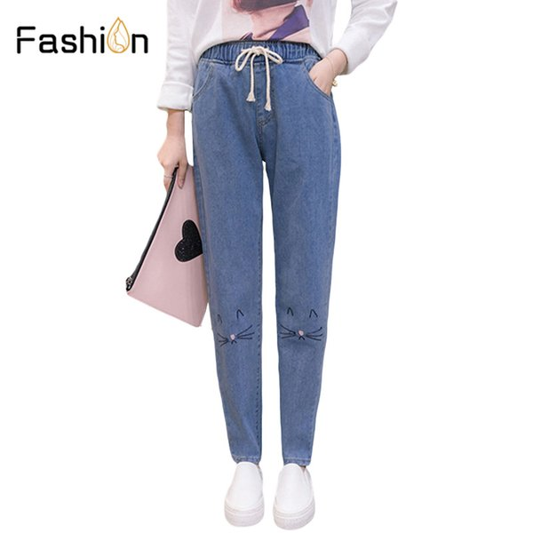 Girls High Waist Jeans Female Boyfriend Jeans For Women Loose Denim Pants Ladies Mom Femme With Cat Embroidery Plus Size