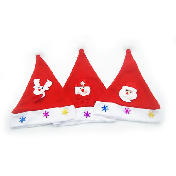 Compre 120 Unids Niños No Tejidas Sombrero De Navidad Con Luz Led ...