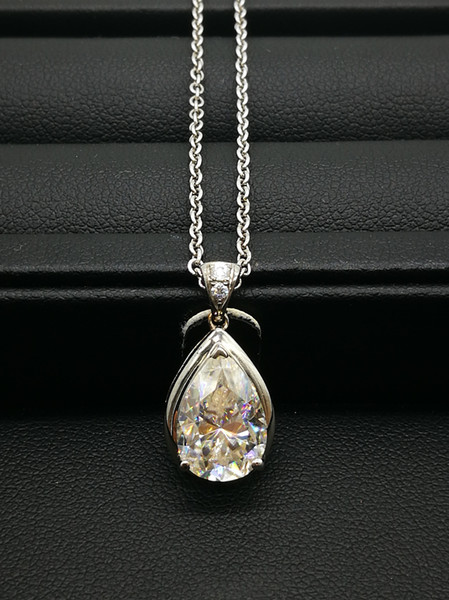 9k,14k,18k White Gold 3Ct Sweet Pear Shape Pendant Lab-Created Diamond Moissanite Necklace With A Certificate For Women
