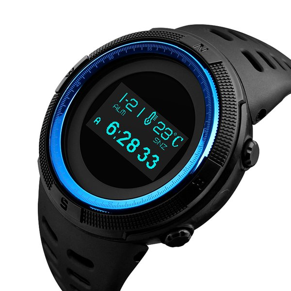 SKMEI 1360 Fashion Sport Watch Men Waterproof Calorie Steps Mileage Digital PU Strap Watch Compass Wristwatch Relogio Masculino XFCS