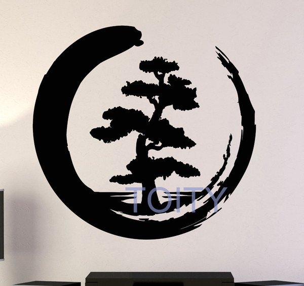 Enso Tree Of Life Zen Circle Wall Sticker Buddhism Yoga Vinyl Decals Asian Art Decor Home Room Interior Retro Mural H61cm xW57cm