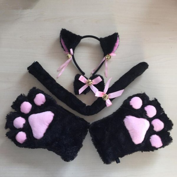 Cute Cat Plush Ear Bell Headband Bow Tie Tail Paws Anime Housemaid Cosplay Costume Set Halloween Party Dress Supplies