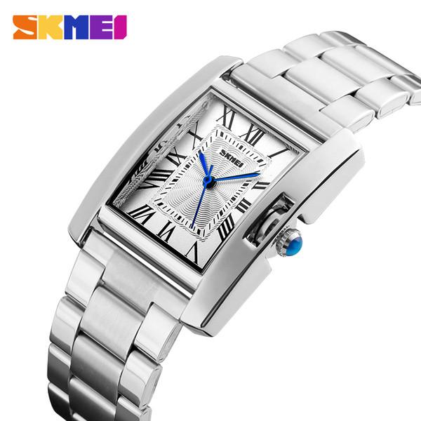 SKMEI Mode Bracelet Femme Montre Casual Date Automatique En Acier Inoxydable Montres En Cuir Montres Relogio Femenino Horloge Dames 1284