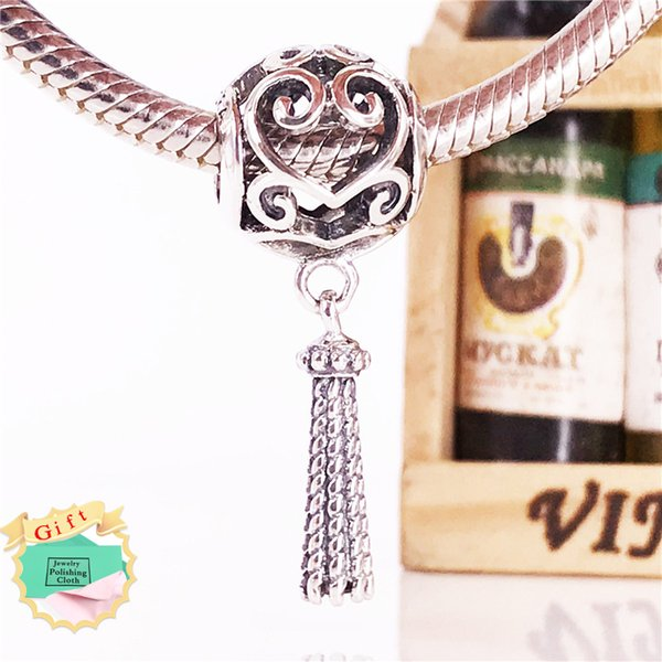 Spring New Arrival Authentic 925 Sterling Silver Enchanted Heart Tassel Pendant charm Fits European Jewelry Bracelets & Necklace 797037