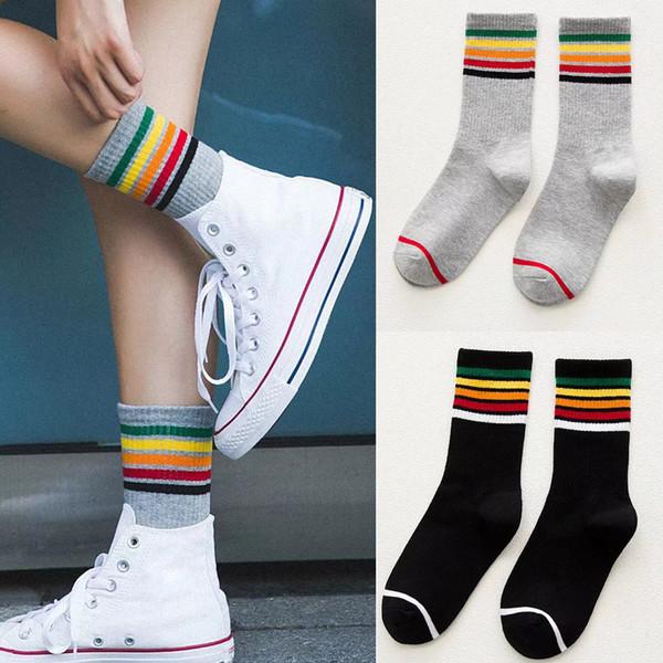 Cool Skateborad Short Rainbow Socks Art Donna Fashion White Cotton Cocks Pantaloni a vita bassa colorati a forma di calzino femminile