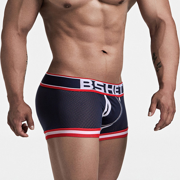 BSHETR Algodão Masculino Roupa Interior Malha Mens Malha Boxers Underwear Sexy Cuecas Mens Respirável Calcinha Masculina Calções U Convexo Bolsa