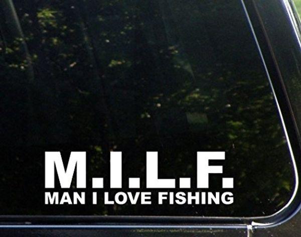 Car Styling For M.I.L.F. Man I Love To Fish Die Cut Decal Bumper Sticker For WIndows, Cars, Trucks, Etc.