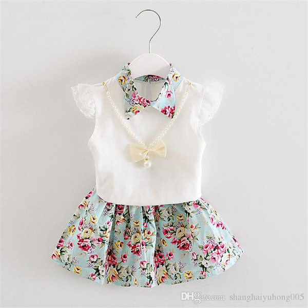 2018 New Summer Children Necklace Clothing Sets Girl T-shirt Skirt 2Pcs/Sets Fashion Baby Floral Suits Infant Casual Outfit