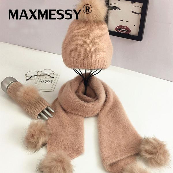 MAXMESSY Scarf Hat Glove Sets Women Winter Fur Pompom High Quality Fashion Brand New Warm Caps Skullies Glove Femme MH162