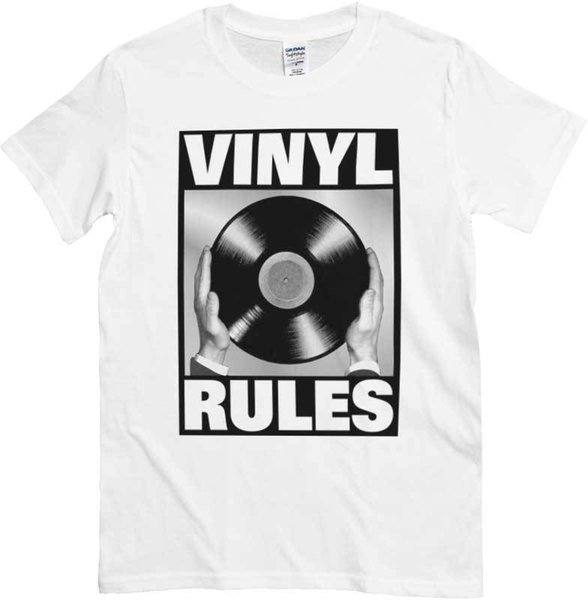 VINYL REGELN DISCO VINILE DJ MUSICA BIANCA Mens 2018 Art und Weise Marken-T-Shirt Oansatz 100% Baumwolle T-Shirt übersteigt T-Stück Gewohnheit
