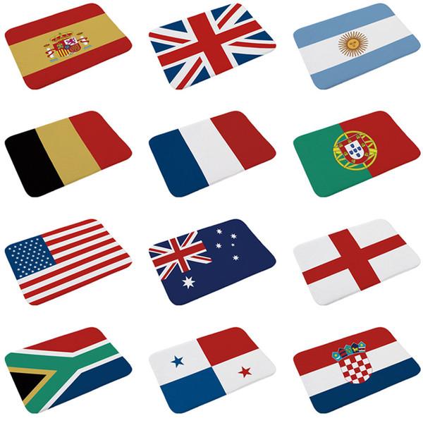 2018 Футбол коврик для ванной футбол национальный флаг ванная комната нескользящая коврик Испания Аргентина Англия Бразилия Германия Франция дверь