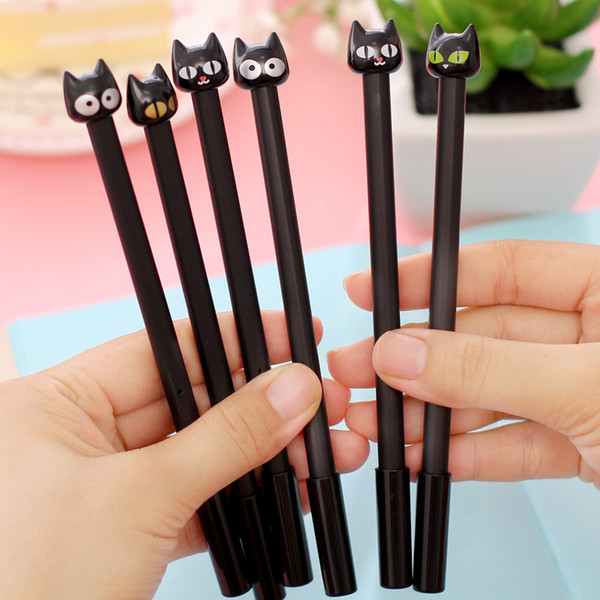 (1pcs/sell) Black Head Cat Gel Pen Set Key Kawaii School Supplies Office Stationary Photo Album Kawaii Pens School Stationery
