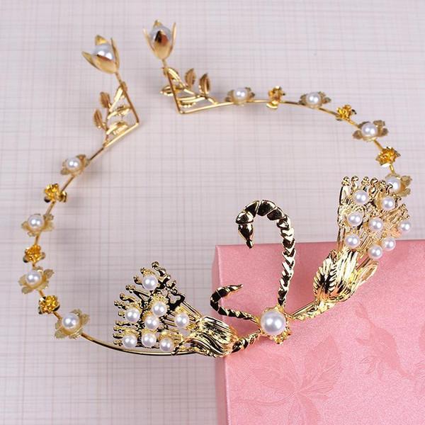 New coreano casamento noiva mão casamento cisne platina headwear vestido de noiva acessórios do bolo de aniversário