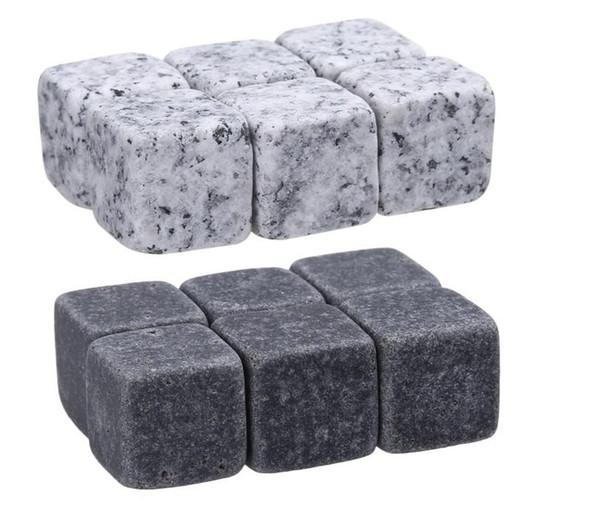 6 stücke Natürliche Whiskey Stones Rock Set Eiswürfel Sipping Alkohol Getränke Kühler Party Hochzeit Weihnachten Favor Geschenk Bar Zubehör c162