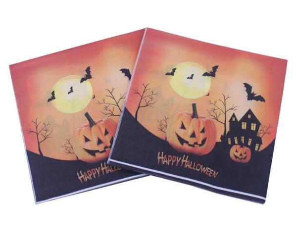 Tovagliolo usa e getta di Halloween per la decorazione della tavola del partito Tovagliolo di carta zucche del castello Festa di Halloween Stoviglie monouso 33x33 cm