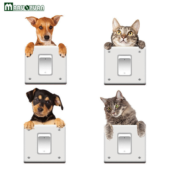 Maruoxuan Funny Cat Dog 3d View Vivid Wall Sticker Bedroom Bathroom Switch Decor Kitchen Home Decals Animal Wall Poster Wall Decor Stickers Wall Decor