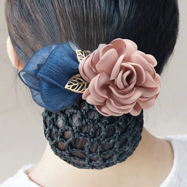 Hand-made girl Hair Bows with Clip High Quality Girls Elegance Hair Clips Big Cloth Flowers hairpin with hair net Headress flower