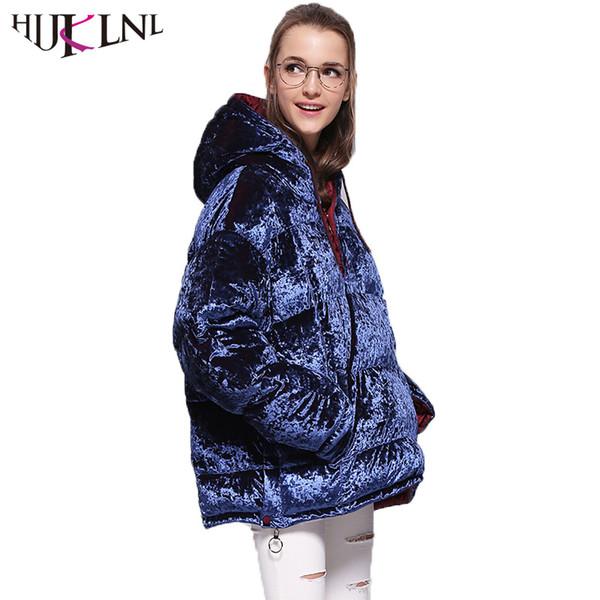nuevo lanzamiento excepcional gama de estilos sitio oficial 2019 HIJKLNL Womens Down Jacket Daunenjacke Damen Fashion Thick Hooded  Velevt Feather Puffer Jacket Winter Coat Parka Mujer QN694 From Kfashions,  ...