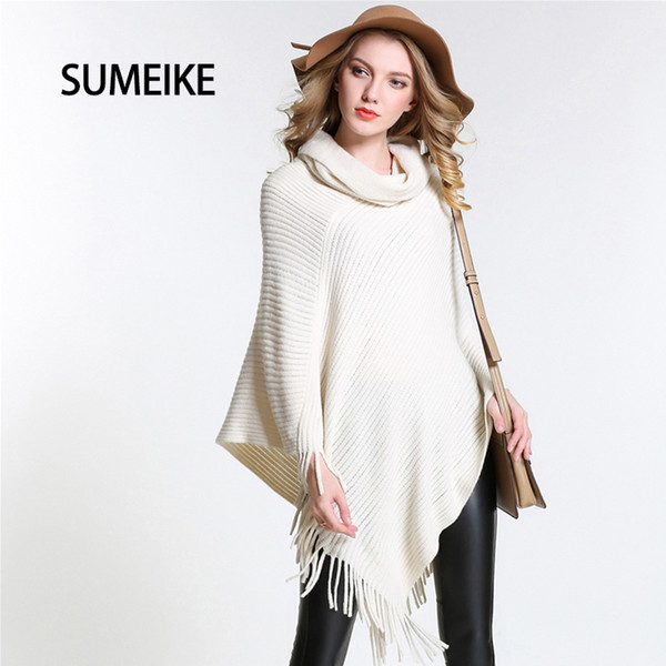 [SUMEIKE] New 2017 Fashion Design Style Scarf Turndown Collar/White Poncho For Women Warm Winter Shawl Capes SMKP004