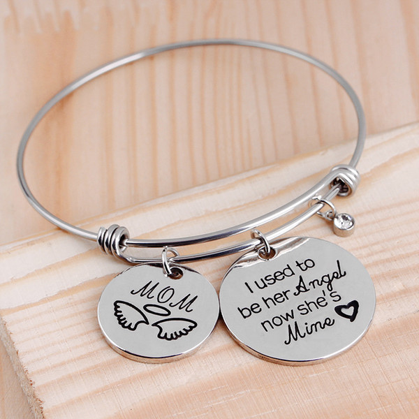 Expandable wire charm bangle silver bracelet love bangle copper alloy i used to be her angel for mom girl