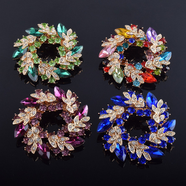 11 Colors Crystal Branch Flower Brooches Jewelry For Women Luxury Wedding Corsage Pins Fashion Brooch Silk Clip Wholesale