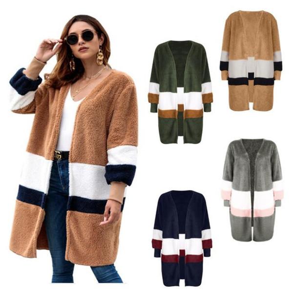 Frauen Plüsch Pullover Strickjacke Mädchen Mittellange Pullover Mantel Beiläufige Lange Warme Wolle Jacken Mantel Warme Splice Outwear Für Damen