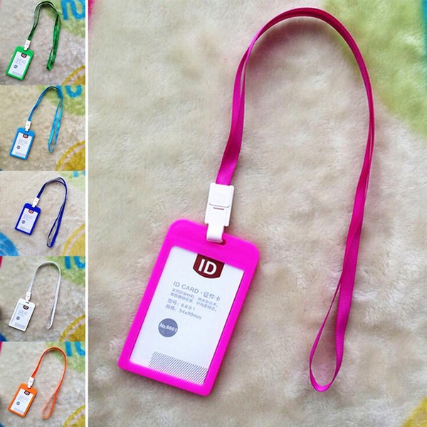 1050 pcs Name Credit Card Holders Women Men Plastic Bank Card Neck Strap Card Bus ID holders candy colors Identity badge with lanyard