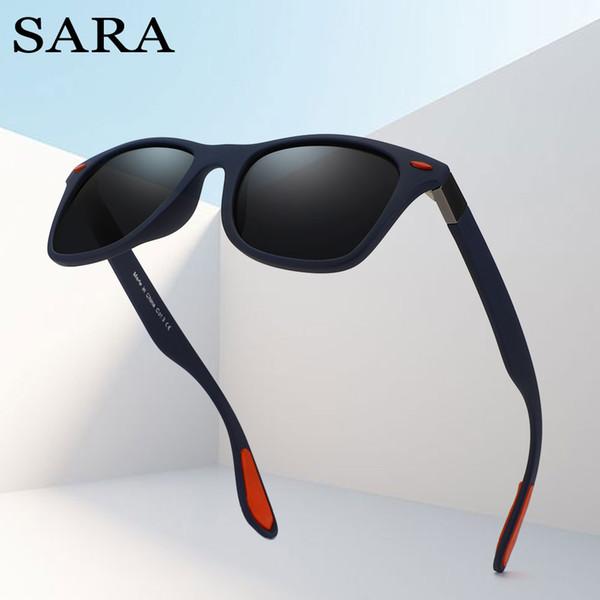 SARA Marca Diseño Clásico Gafas de Sol Polarizadas Hombres Mujeres  Conducción Sombras Marco Cuadrado Gafas de 4f19fcca48e7