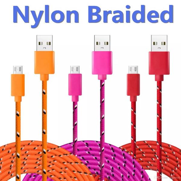 usb-kabel MICRO-s7-edge s7 s6-high-speed nylon geflochtene kabel lade synchronisationsdaten langlebig 3ft 6ft 10ft nylon gewebte kabel für htc sony
