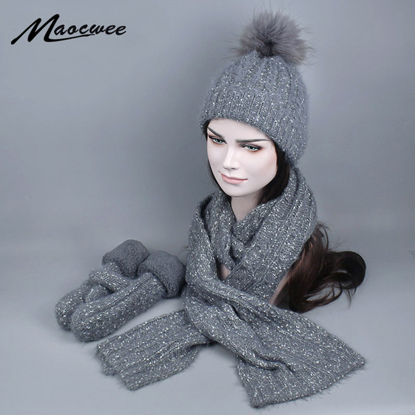 Women Winter Hat and Scarf Gloves Set Fashion Cashmere Real Fur Pompom Cap Female Warm Knitted Hat Scarves