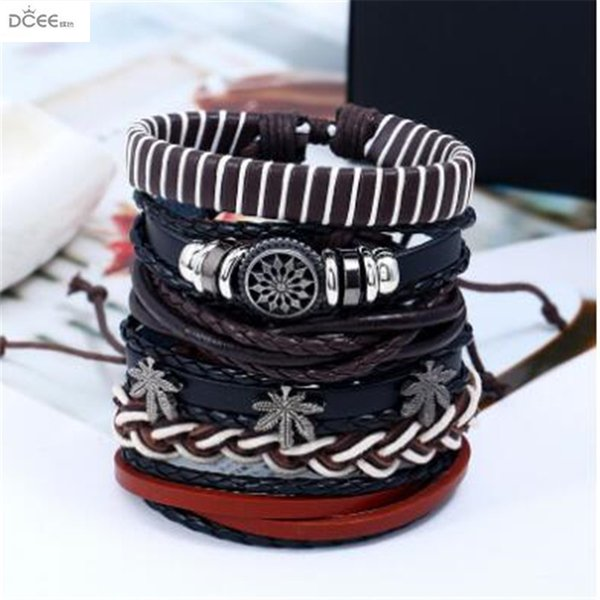 Retro braided cowhide suit bracelet, European and American accessories DIY Genuine Leather Bracelet