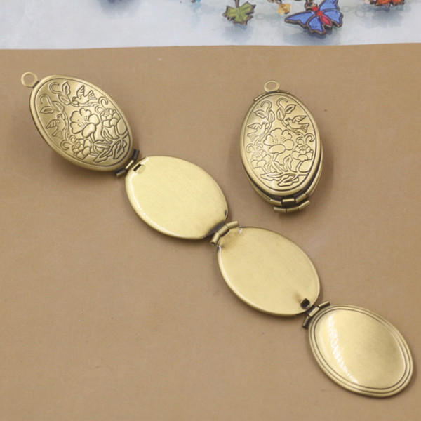 10pcs 33*20*9MM Oval 4-layers folded antique bronze bird photo locket pendants for necklace vintage fold picture frame pendant wish jewelry