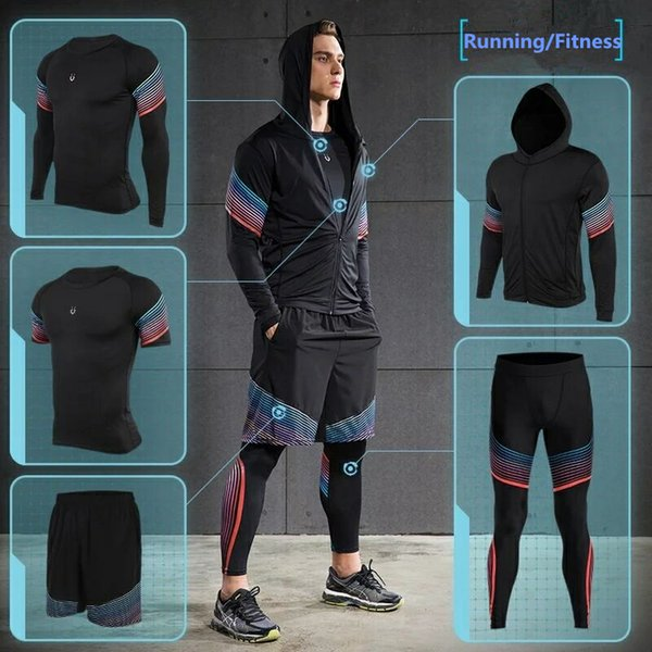 Vansydical 2019 Running Set Men's Gym Clothes Stretchy Compression Tights Sportswear Fitness Training Sports Jogging Suits C18111301