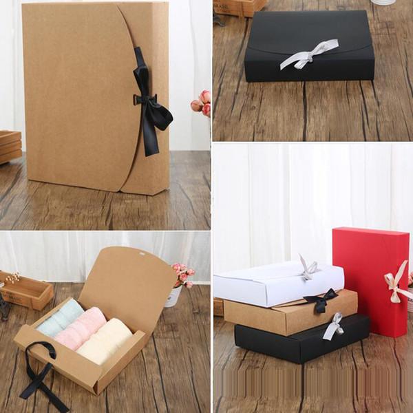 24 * 19.5 * 7 cm Beyaz / Siyah / Kahverengi / Kırmızı Kurdele ile Kağıt Kutusu Büyük Kapasiteli Kraft Karton Kağıt Hediye Kutusu Eşarp Giyim Ambalaj
