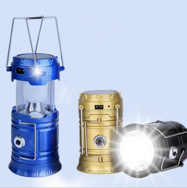 Solar lights hanging lanterns outdoor LED Lamps portable Collapsible Hiking Super Bright camping lanterns with USD charging