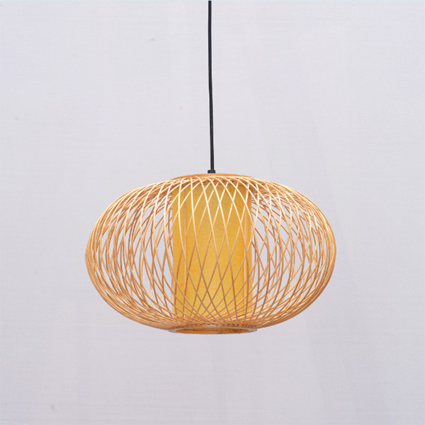 Bamboo Lantern LED Pendant Lamps Vintage Duplex pendant light Hanging Lamp Suspension Coffee home lighting Luminaire G046