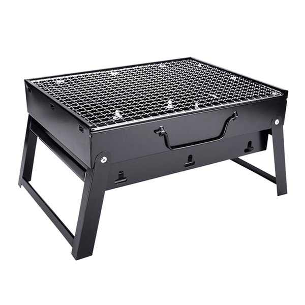 Ezlife Bbq Grill Folding Picnic Camping Charcoal Adjustable Height Portable Barbecue Grill Broiler Outdoor Cooking Tool Ljw5290