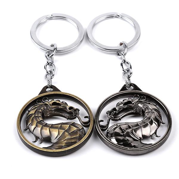 Mortal Kombat Pendant Dragon Jon Keychain Game of Thrones Vintage Metal Key Holder Video Game Car Key Ring Movie Jewelry gift