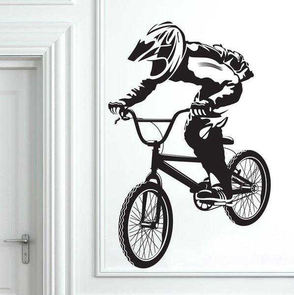 For Kids Rooms Boys Bedroom Decor Wall Art Decoration Bicycle BMX Wall Stickers Removable Wallpaper