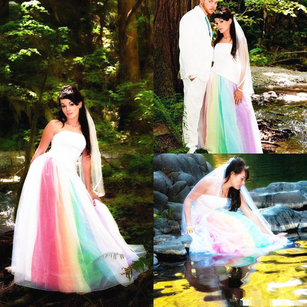 2019 Newest Outdoor Rainbow Wedding Dress Strapless Satin Tulle Floor Length A Line Long Colorful Bridal Gowns Romantic Custom Made