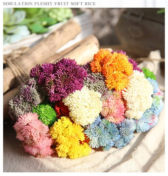 Artifical PU Soft Rubber Rice Fruit Hydrangea Fake Flowers for Wedding Home Decor Festival Party Supplies Desk Wreaths Wholesale