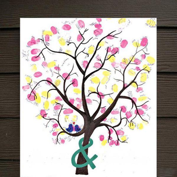 Grosshandel Dekor Diy Hochzeit Fingerabdruck Baum Gastebuch