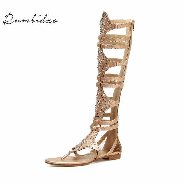 Rumbidzo Women Sandals 2018 Fashion Flat Heels Summer Beach Sandalias Cutouts Rivets Knee High Zipper Sandals Sapatos