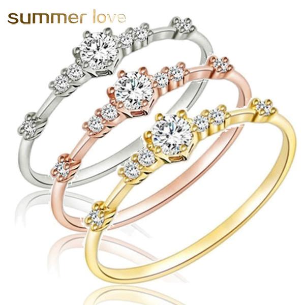 Anello a forma di zircone di cristallo di alta quatity sei impostazione anelli di fidanzamento dolce per le donne Gioielli di moda di moda minimalismo carino stile coreano