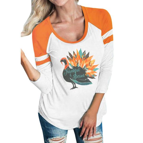 4bbb840732 Moda Thankful Turquia Impresso Camisas Mulheres Primavera Outono de Manga  Longa Patchwork Casual Solto Tops Senhoras