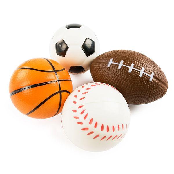 Fútbol Fútbol Squishy Juguetes Béisbol Baloncesto Voleibol Levantamiento lento Jumbo Squeeze Encantos de teléfono Crema Pan Stress Reliever Regalo 50pcs