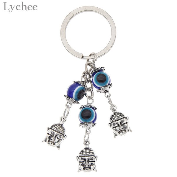 Lychee Trendy Alloy Evil Eyes Keychain Animal Tree Shape Silver Color Keyring Backpack Pendant Accessories For Men Women