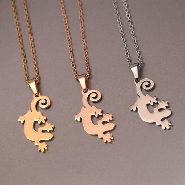 Everfast Origami Gecko Pendants Necklaces Lizard Stainless Steel Gekko Charms Choker Necklace Women Girls Christmas Gift Jewelry